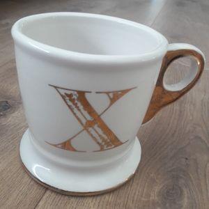 Anthropologie Gold X Monogram Mug